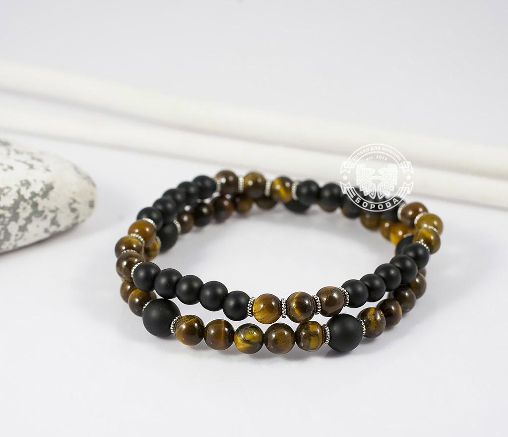 BS655 Яркий двойной браслет из тигрового глаза и шунгита. «Boroda Design» фото 03