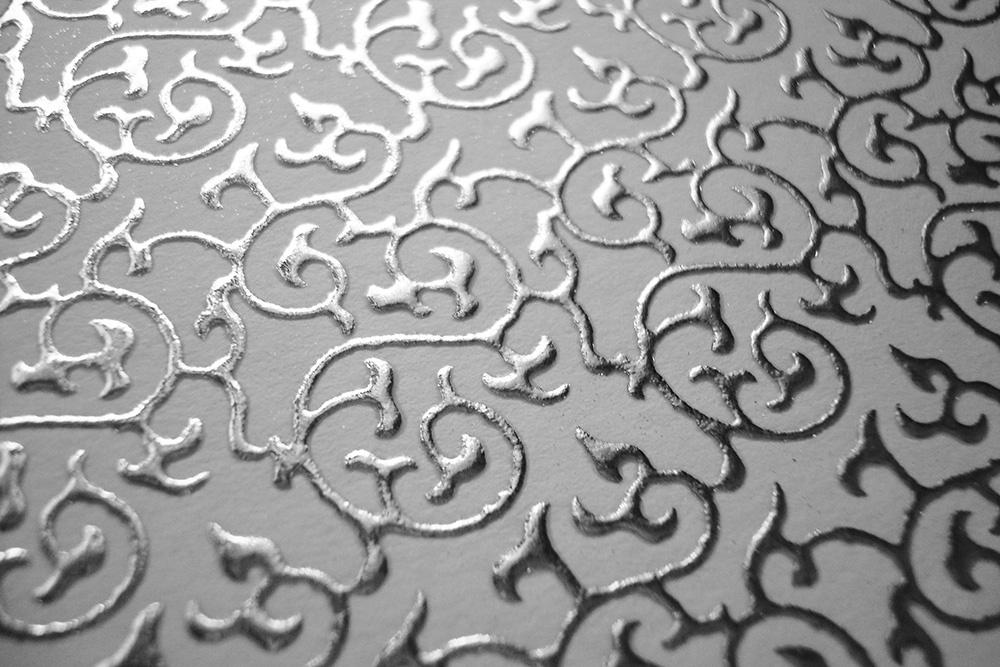 Бумага «Султан» с узором белая с серебром, 140 гр/м2