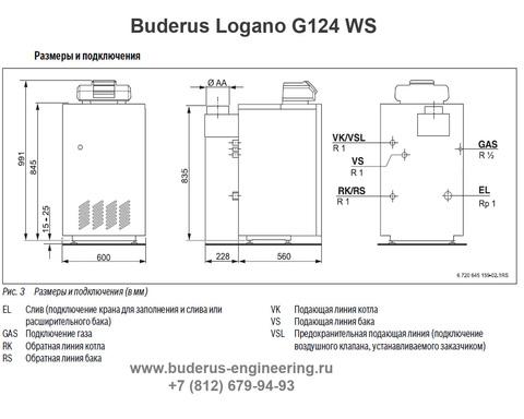 Buderus Logano G124-28WS Газовый Напольный Чугунный Атмосферный котел (RU-TOP) (Размеры подключения)