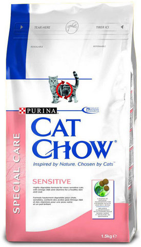 Cat Chow Для кошек с чувствительным пищеварением лососем и рисом(adult Sensitive) 15 кг