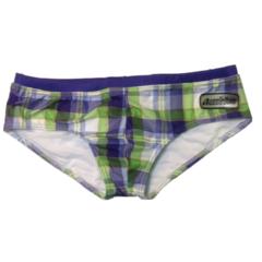 Мужские плавки брифы в клетку Aussiebum Check green- violet-white Brief