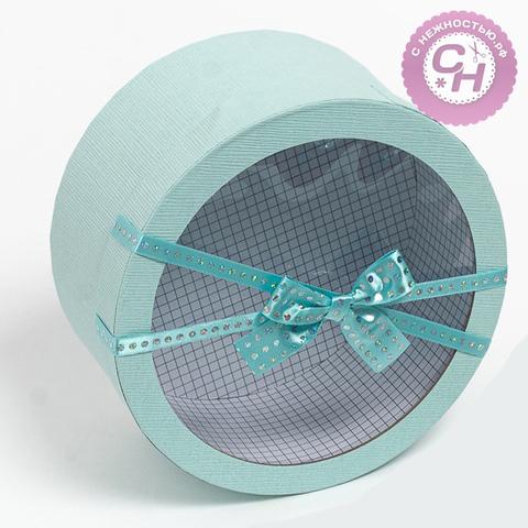 Коробка круглая с прозрачной крышкой и бантом