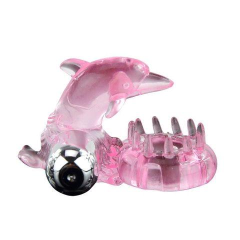 Розовое виброкольцо-дельфин с шипами