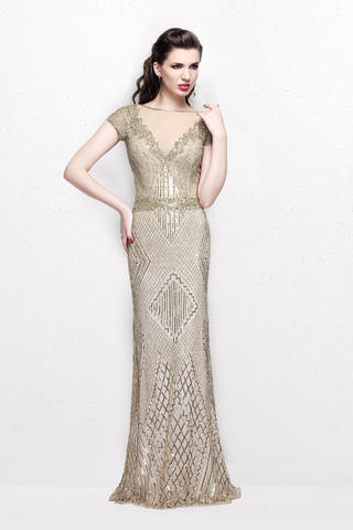 Margarita 4788 Торжественное платье, расшитое пайетками и бисером, спина закрыта, элегантный шлейф