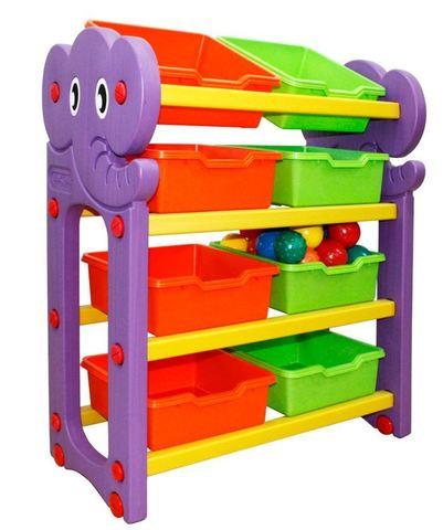 JM-809A Стеллаж для хранения  игрушек (4 секции) (стандарт)