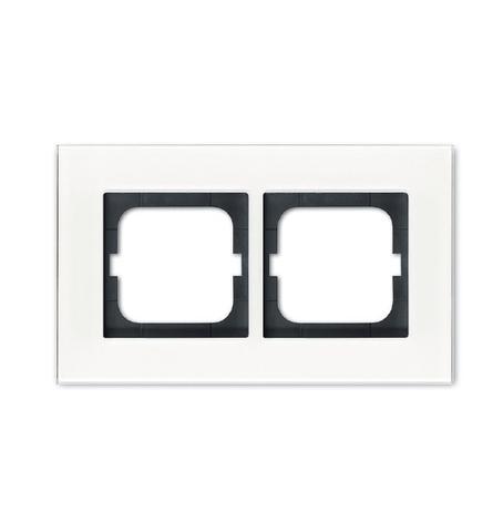 Рамка на 2 поста. Цвет Белое стекло. ABB(АББ). Carat(Карат). 1754-0-4443