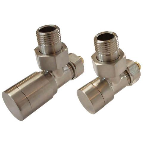 Комплект клапанов с ручной регулировкой Форма угловая Элегант Сталь. Для пластика GZ 1/2 х 16х2