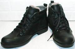 Мужские черные ботинки с мехом Luciano Bellini 6057-58K Black Leathers & Nubuk.