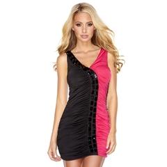 Двухцветное присборенное платье