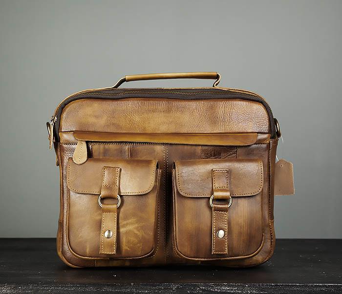 BAG469-2 Мужская винтажная сумка с ремнем через плечо фото 02