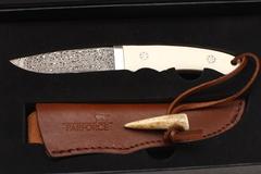 Нож с клинком мозаичный дамаск с ножнами