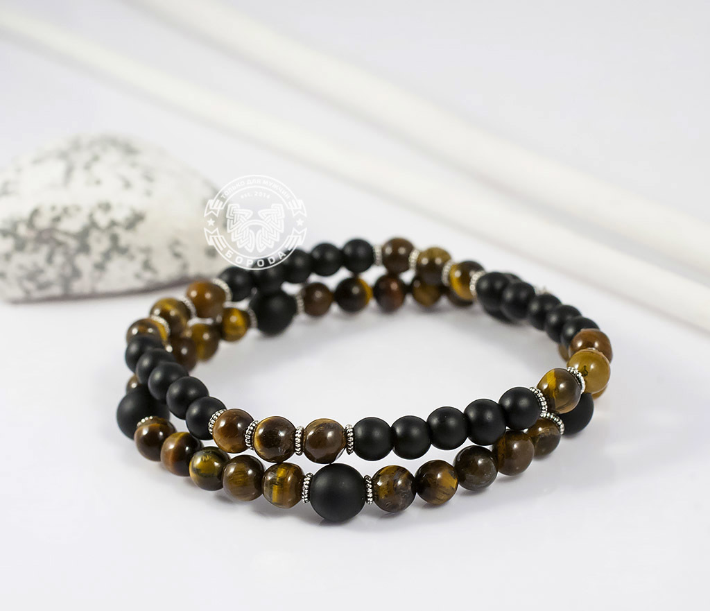 BS655 Яркий двойной браслет из тигрового глаза и шунгита. «Boroda Design» фото 04