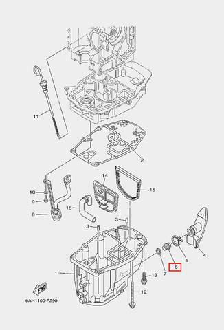 Пробка-винт маслянный для лодочного мотора F20 Sea-PRO 14х9 (22-6)