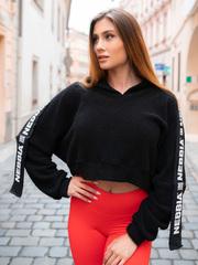 Укороченая толстовка NEBBIA Ribbon cropped hoodie 520 BLACK