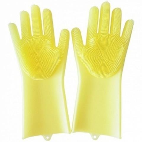 Термостойкие универсальные силиконовые перчатки с ворсинками для кухни жёлтые