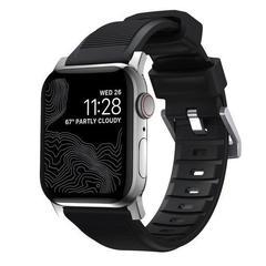 Ремешок Nomad Rugged Strap V.2 Apple Watch 44/42, черный/серебряный