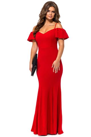 Длинное вечернее платье в пол, красное