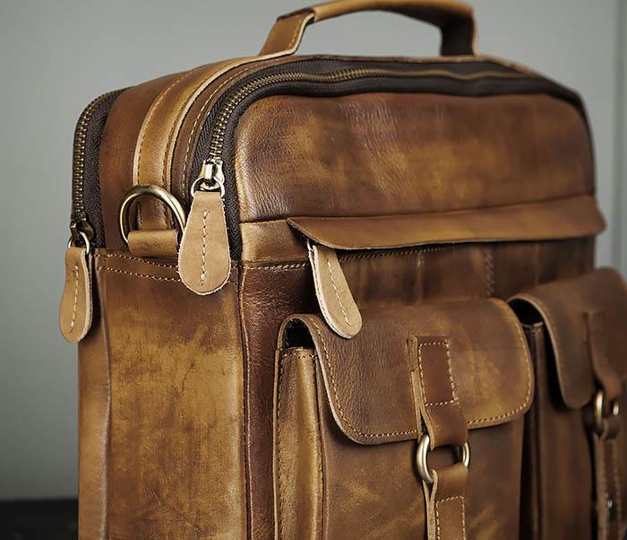 BAG469-2 Мужская винтажная сумка с ремнем через плечо фото 04