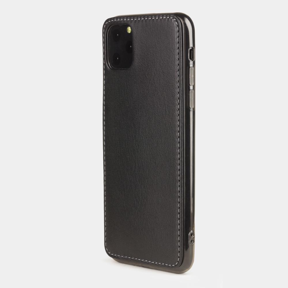 Чехол-накладка для iPhone 11 Pro Max из натуральной кожи теленка, черного цвета