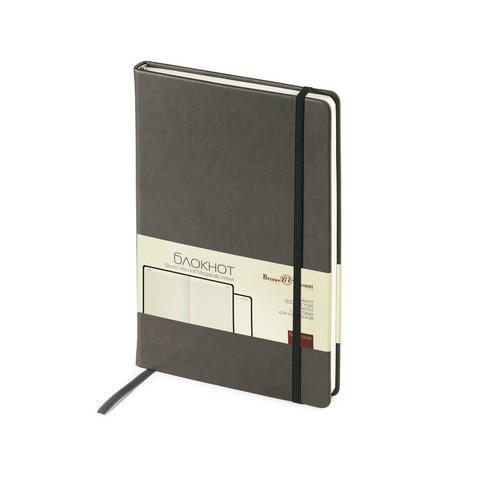 Блокнот Bruno Visconti Megapolis Velvet A5 100 листов серый в клетку на сшивке с фиксирующей резинкой (144х212 мм)