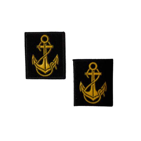 Нашивки пласт Петличные эмблемы для офиц. состава ВМФ (черный фон и кант, желтый якорь)