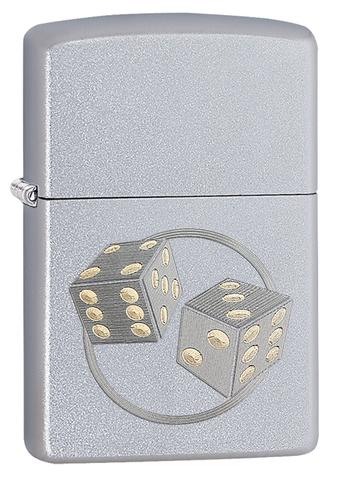 Зажигалка Zippo Classic с покрытием Satin Chrome, латунь/сталь, серебристая, матовая, 36x12x56 мм