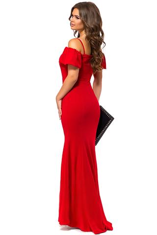 Длинное вечернее платье в пол, красное 2