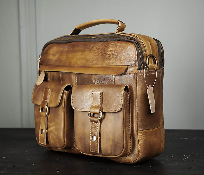 BAG469-2 Мужская винтажная сумка с ремнем через плечо фото 05