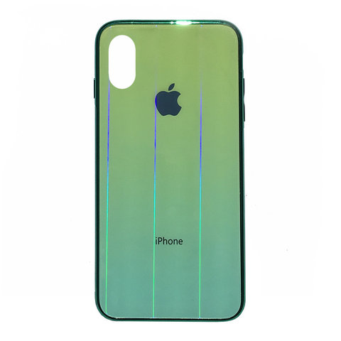 Чехол iPhone XS MAX Glass Shine Case Logo /green/