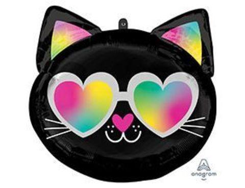 Фольгированный шар Кошечка черно-белая