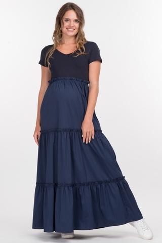 Платье для беременных и кормящих 10358 темно-синий