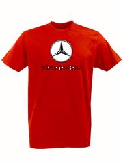 Футболка с принтом Mercedes-Benz (Мерседес-Бенц) красная 001