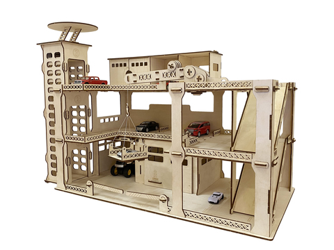 Деревянный детский конструктор гараж трёхуровневая парковка автостоянка с лифтом, краном и вертолётной площадкой, 241 деталь, 80х40х56 см