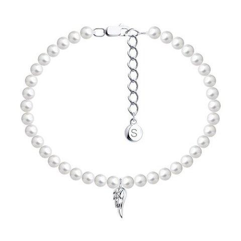 94050876 - Браслет из серебра с жемчугом Swarovski и подвеской крыло