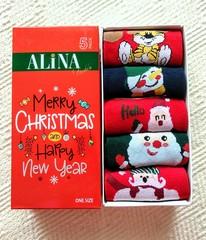 Набор новогодних носков в коробке (5 пар) арт. D01