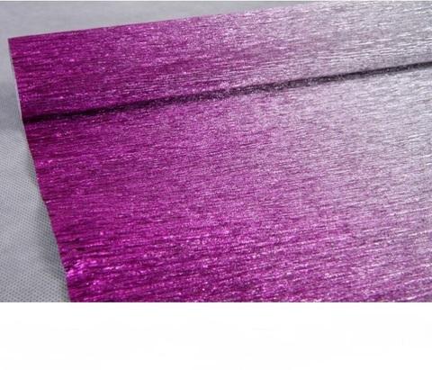 Гофрированная бумага металл с переходом цвет 802/1 малиново-серебряный, 180г, 50х250 см, Cartotecnica Rossi (Италия)