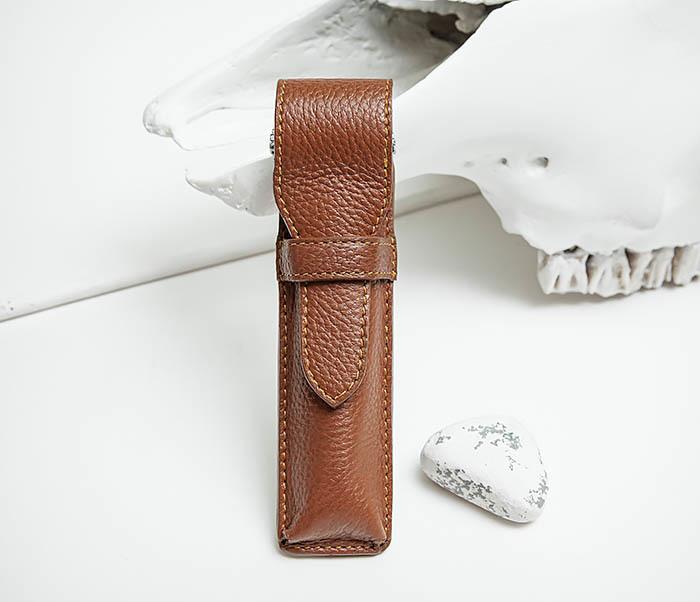 RAZ502-2 Чехол «PARKER» из натуральной кожи для опасной бритвы (коричневый) фото 02