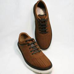 Модные мужские туфли в виде кроссовок Vitto Men Shoes 1830 Brown White