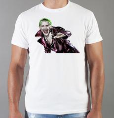 Футболка с принтом Джокер, Отряд самоубийц (Joker, Suicide Squad, Джаред Лето) белая 0045