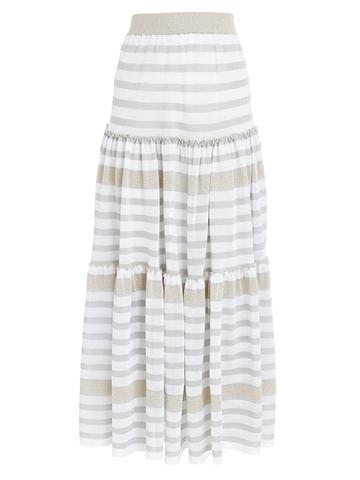 Женская юбка в бело-серую полоску из вискозы - фото 1