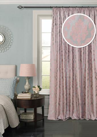 Готовая штора жаккард Афина с подхватом розовый