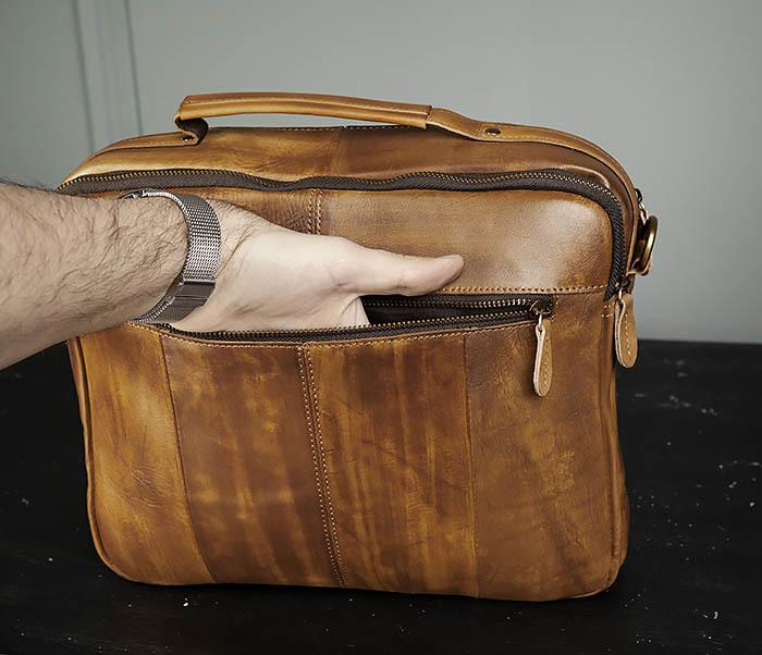 BAG469-2 Мужская винтажная сумка с ремнем через плечо фото 07