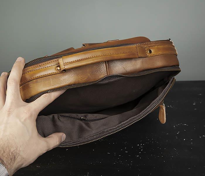 BAG469-2 Мужская винтажная сумка с ремнем через плечо фото 08