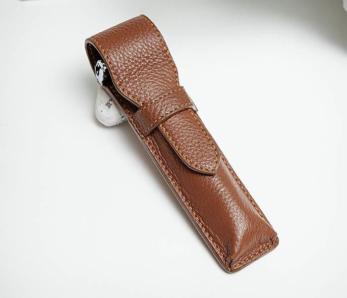 RAZ502-2 Чехол «PARKER» из натуральной кожи для опасной бритвы (коричневый) фото 04