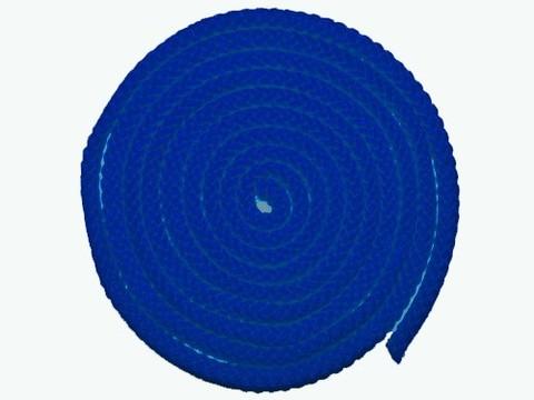 Скакалка гимнастическая, цветная ткань. Длина 3 метра. Цвет синий. :(АВ251):
