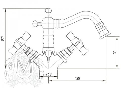 Смеситель для биде Migliore Princeton,  ML.PRN-844 схема