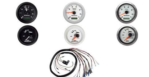 Комплект из 2-х приборов Honda: тахометр + указатель угла наклона, черный