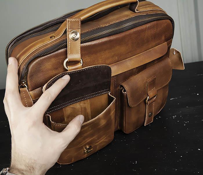 BAG469-2 Мужская винтажная сумка с ремнем через плечо фото 09