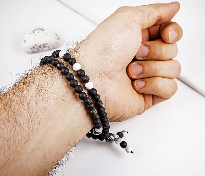 BS899 Двойной браслет из карельского шунгита со стальной бусиной фото 06