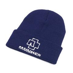 Вязаная шапка с отворотом и вышивкой Rammstein (Рамштайн), синяя